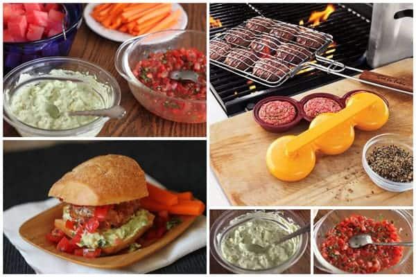 a collage of making Bruschetta Turkey Burger Sliders