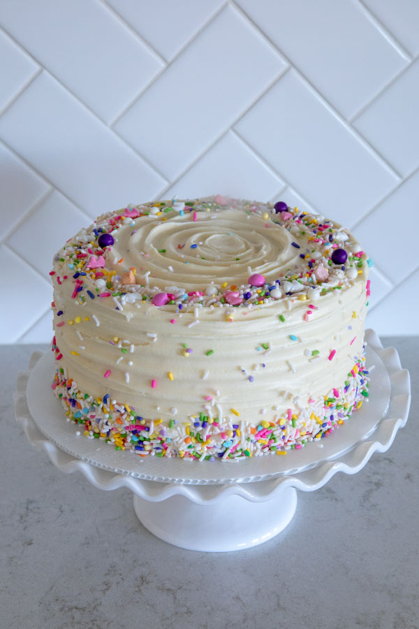 Chocolate Layer Cake with colorful sprinkles