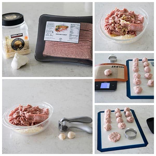 collage of Bruschetta Turkey Burger Sliders Ingredients