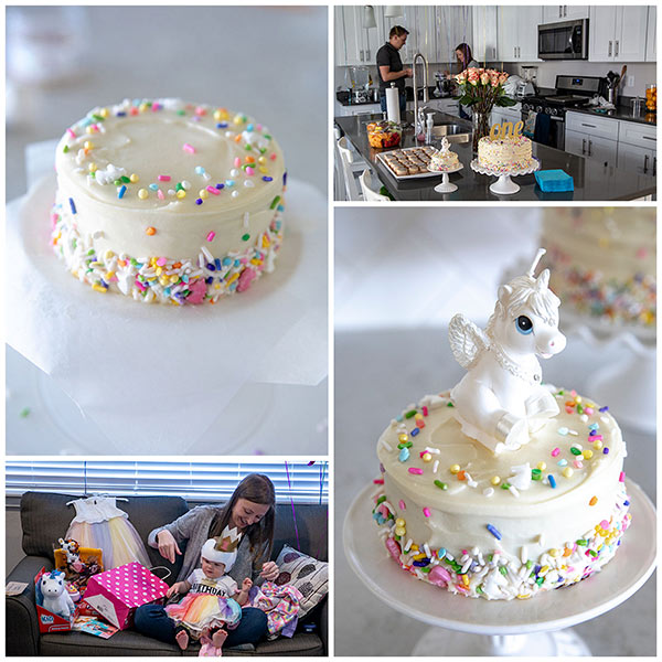 Unicorn birthday party collage