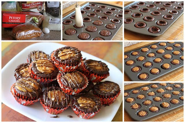 Collage of How to Make Caramel Delight Brownie Bites