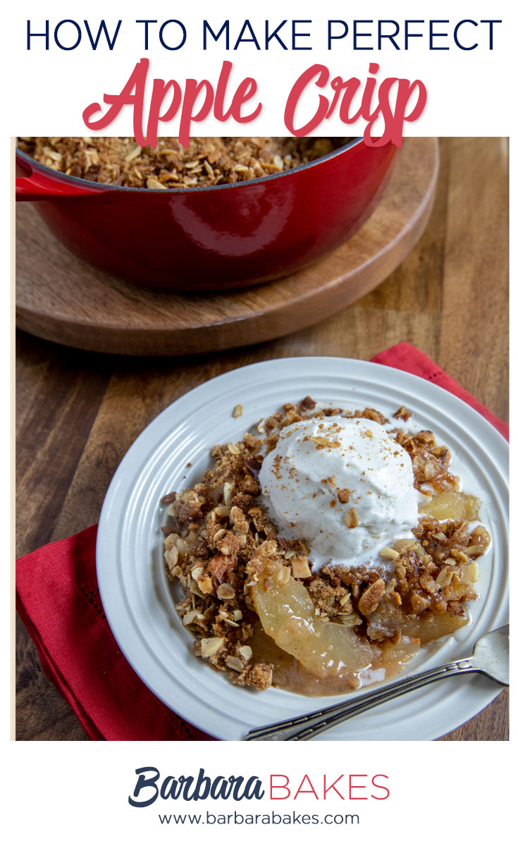 Apple crisp plated with ice cream