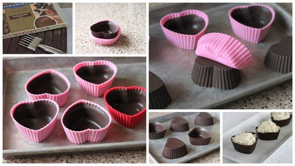 Collage of Making Chocolate Cheesecake Mousse Cups with a Sweet Berry Compote