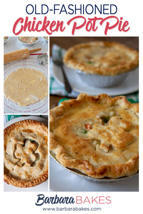 collage of Tender, Flaky, Homemade Chicken Pot Pie for St. Patrick\'s Day