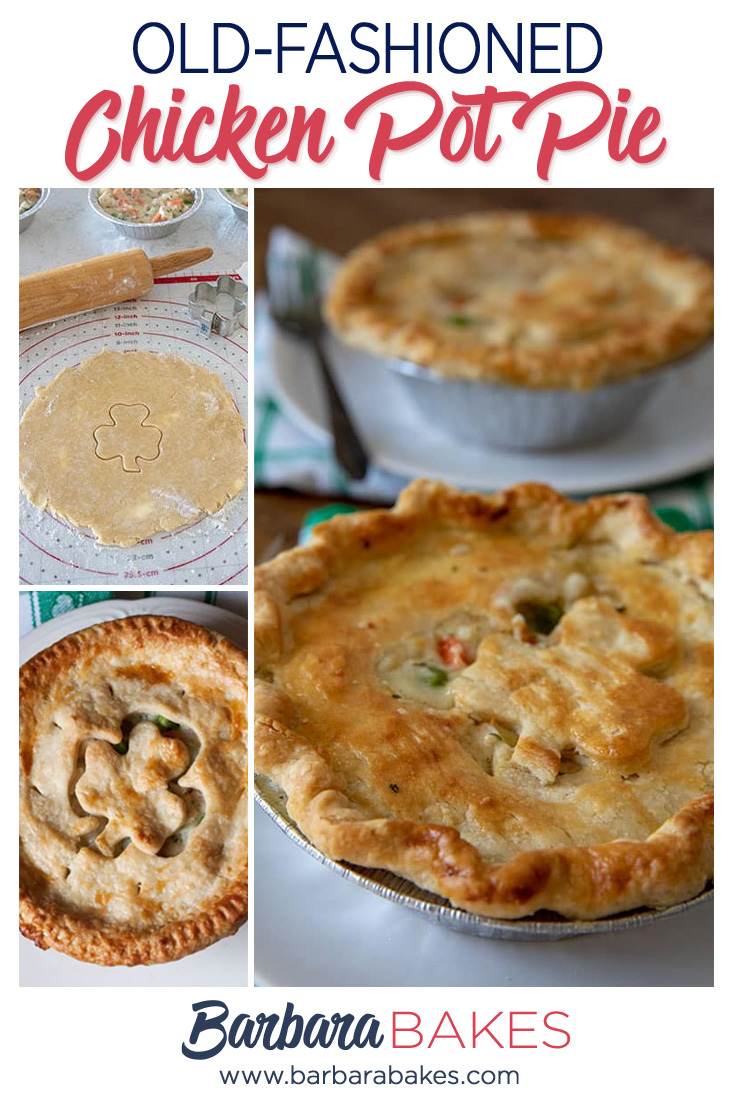 collage of Tender, Flaky, Homemade Chicken Pot Pie for St. Patrick's Day via @barbarabakes