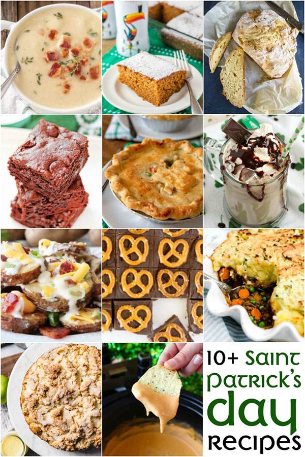 collage of 10 St. Patrick\'s Day Recipes