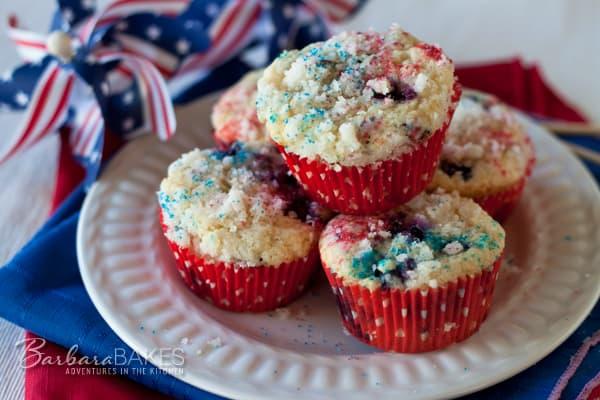 4th of July Blueberry Cranberry Muffins