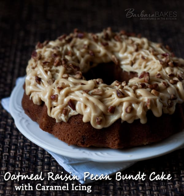 Featured Image for post Oatmeal Raisin Pecan Bundt Cake with Caramel Icing