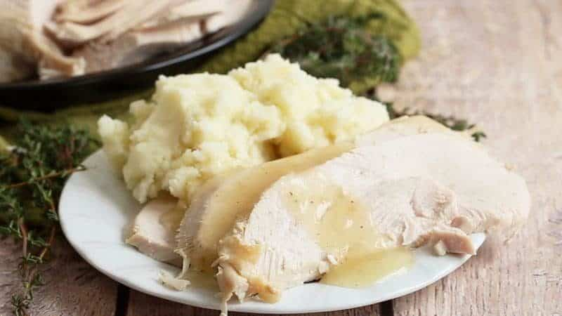Thanksgiving Turkey and Mashed Potatoes on a white plate