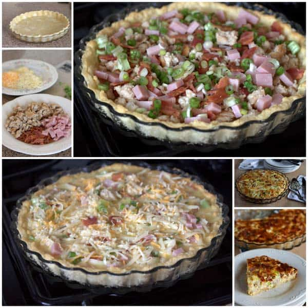 collage of how to make Meat Lovers Quiche - Step by step photos