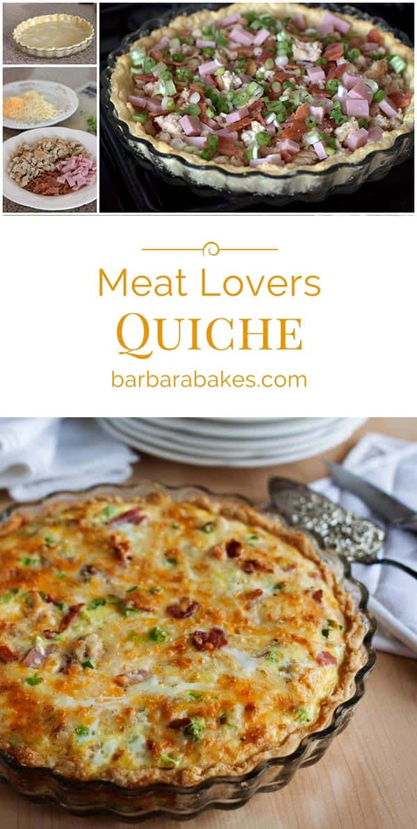 This Meat Lovers Quiche is loaded with ham, bacon, sausage and cheese in a tender, flaky crust. A perfect breakfast for a birthday, holiday, or breakfast, lunch or dinner any day of the week.
