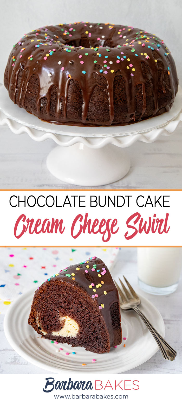 A collage of two photos of a chocolate bundt cake with a cream cheese swirl. via @barbarabakes