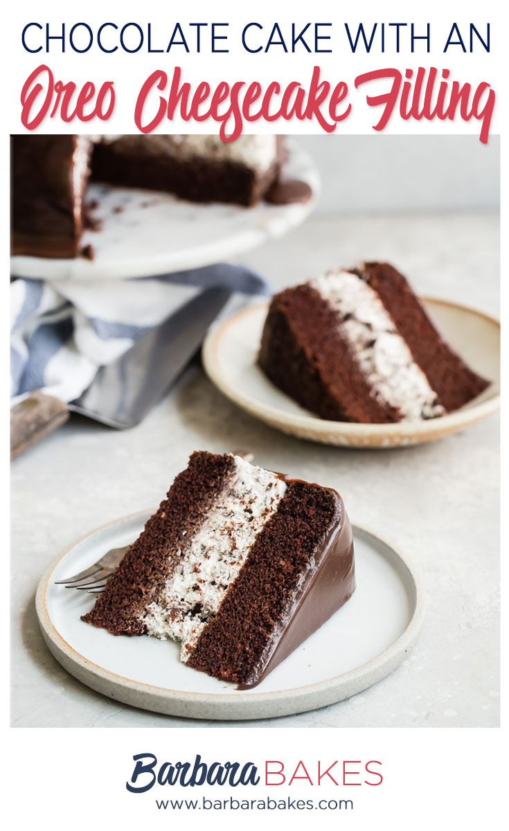 An easy-to-make, creamy no-bake Oreo cheesecake filling sandwiched between rich, moist chocolate cake dripping with a milk chocolate ganache with two slices.