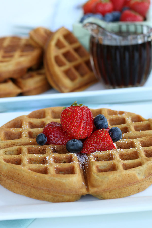 A Plate of Best Ever Whole Wheat Waffles with berries