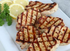Grilled Lemon Pepper Pork Chops on a plater