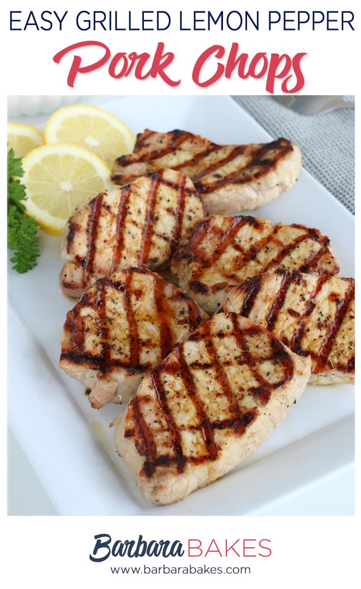 Grilled Pork Chops with Lemon Slices
