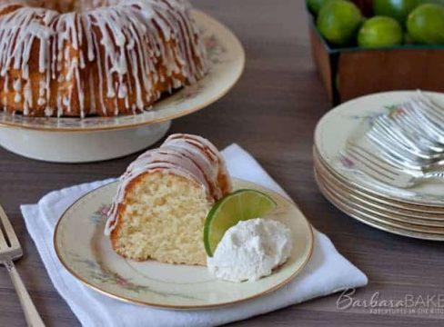 A sweet, moist, dense key lime pound cake drizzled with a tart key lime glaze. A delicious Southern twist to a traditional pound cake.