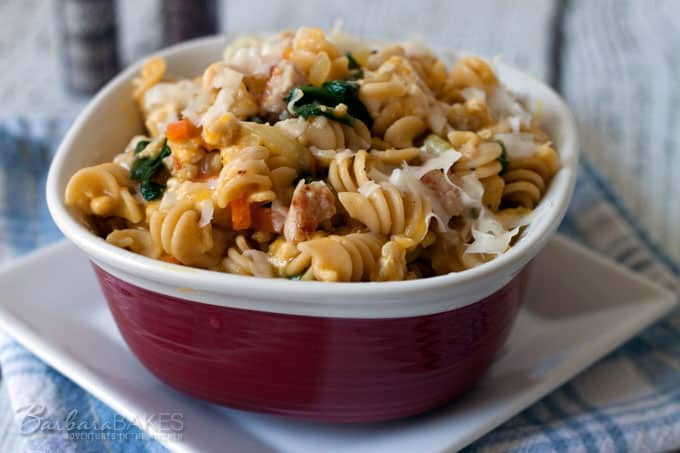 Featured Image for post Rotini Pasta in a Creamy Butternut Sauce with Chicken Sausage and Baby Spinach
