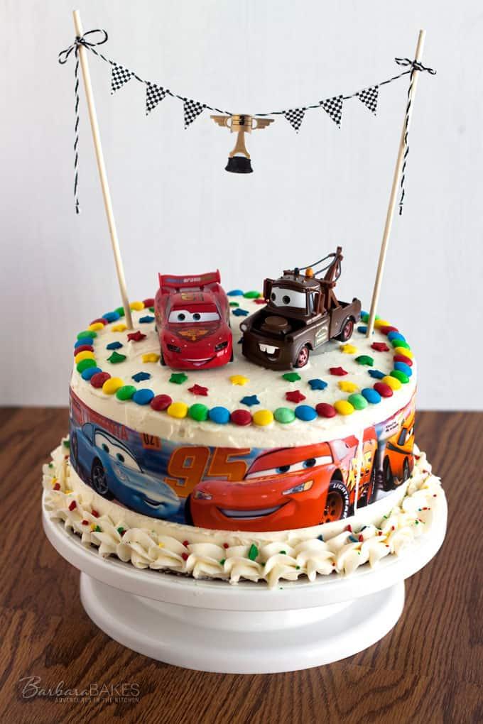 Cars Birthday Cake – Single White Layer