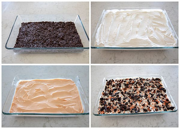 collage of making Halloween-Cinder-Cake