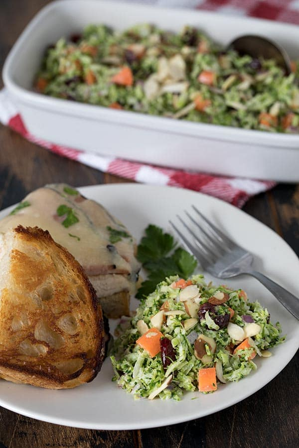 Broccoli Slaw Plated With Chicken Cordon Bleu-Melt