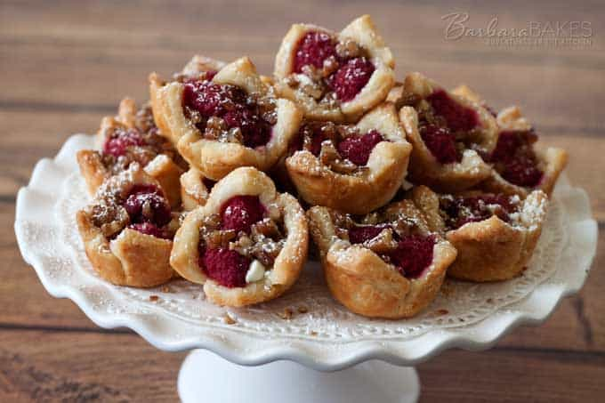 Raspberry White Chocolate Rugelach Bites