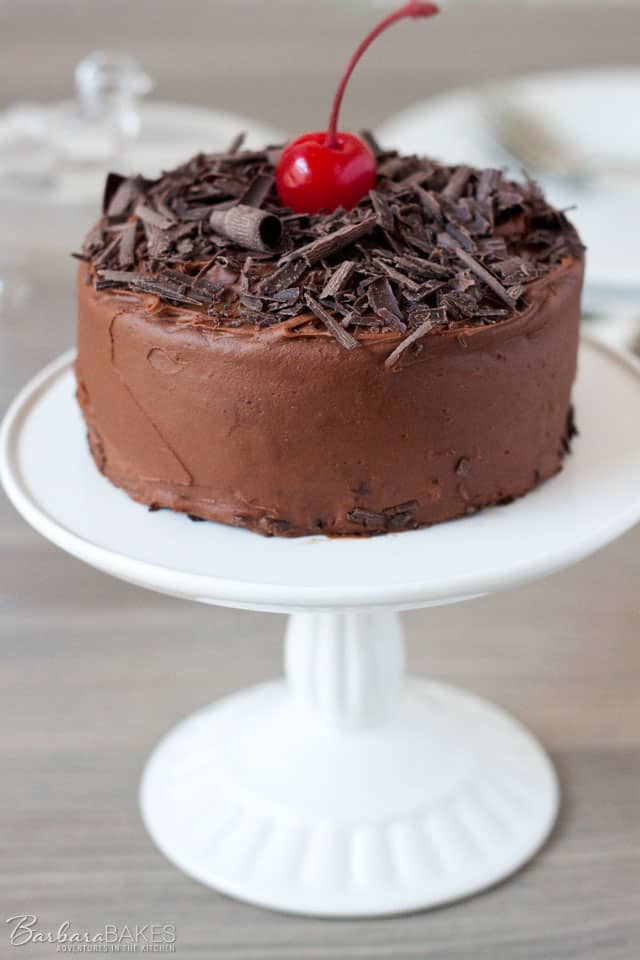 Cherry Chocolate Cake for Two - filled with a sweet maraschino filling and iced with rich chocolate ganache.