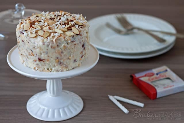 Featured Image for post Chocolate Cake for Two with a Coconut Almond Cream Cheese Frosting