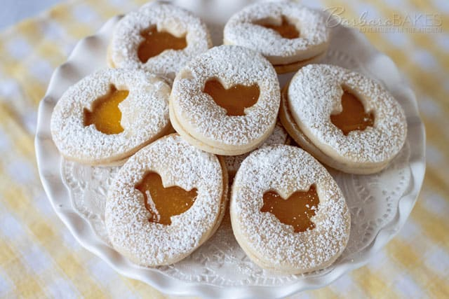 Lemon Easter Shortbread Sandwich Cookies with a Lemon Curd Filling.