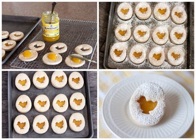 Collage of making Lemon Easter Shortbread Sandwich Cookies with a Lemon Curd Filling.