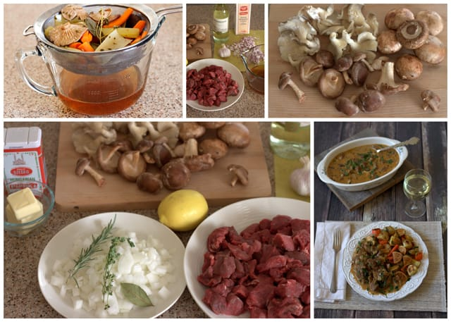 Collage of making Deer Valley Veal Wild Mushroom Stew
