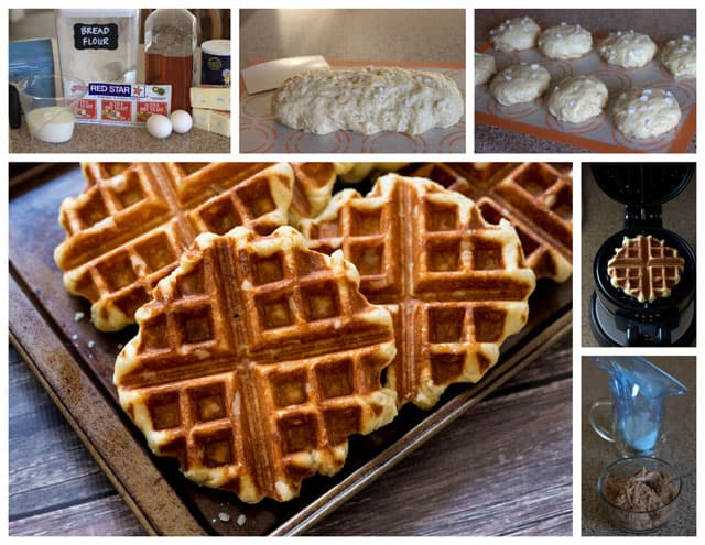 Collage of making Cinnamon Roll Liege Waffles - Belgian Sugar Waffles