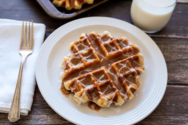 Featured Image for post Cinnamon Roll Liege Waffles - Belgian Sugar Waffles