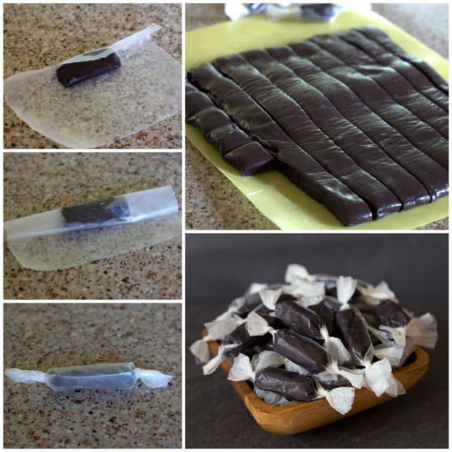 Collage showing cutting and wrapping Black Licorice Caramels