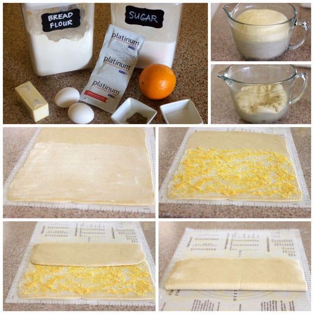 Collage of layering the orange sugar for Swedish Orange Sweet Buns
