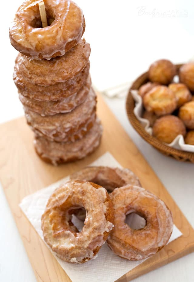 Old Fashioned Buttermilk Donuts are plain cake donuts with a simple glaze, but they\'re scored so that when they\'re fried they get extra crispy and delicious.
