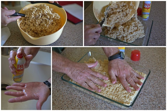 Collage of making Halloween Crispy Treats using Pam Cooking Spray