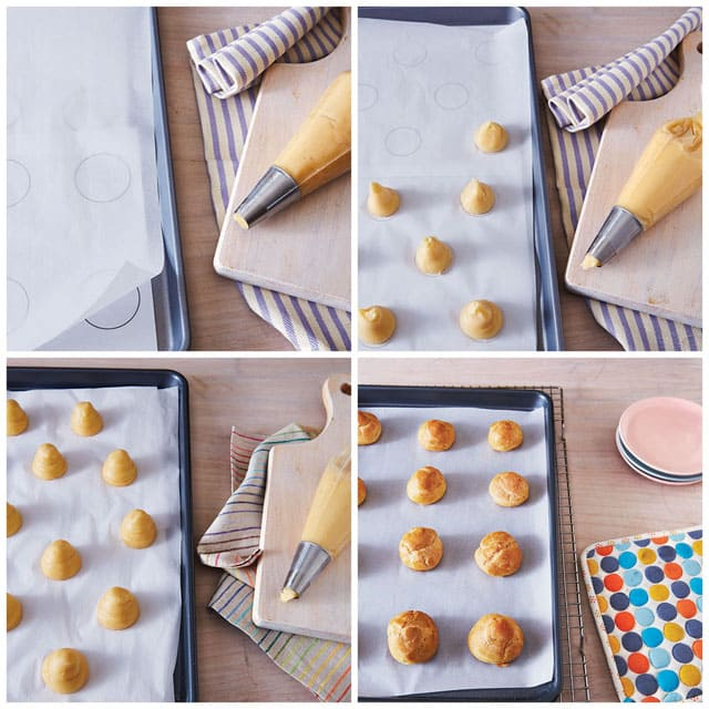 Collage of Step by Step Photos of How to Make Cream Puffs