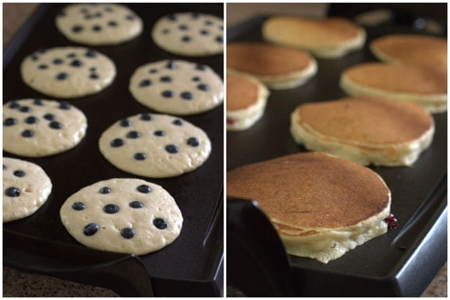 Collage of making whole wheat lemon ricotta blueberry pancakes.