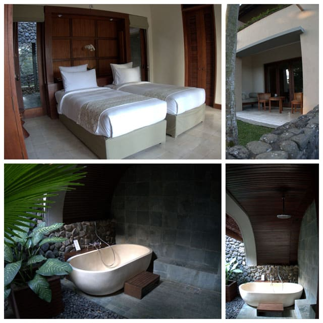 Collage of room photos. Our room had a huge, tropical, outdoor bathtub and shower area that was a great way to relax at the end of the day. The top was screened in and it was very private and secluded.