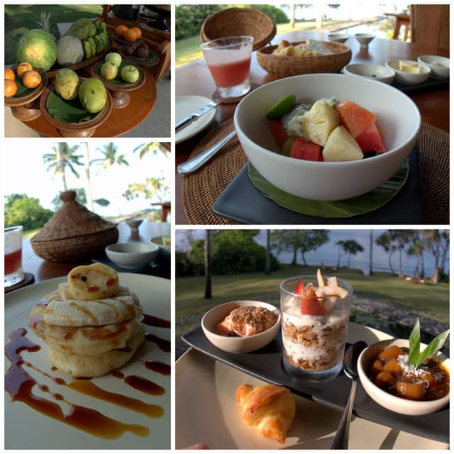 Collage from Alila Manggis. Breakfast at the Alila Manggis is a 3 course chef prepared meal, and always included lots of luscious tropical fruit. My favorite breakfast entree was buttermilk pancakes served with fresh banana, honeycomb butter and palm sugar syrup.