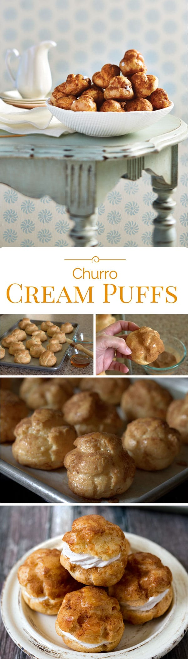 A crisp cinnamon-sugar shell filled with a light and airy cinnamon whipped cream. If you love churros, you'll love these baked not fried Churro cream puffs.