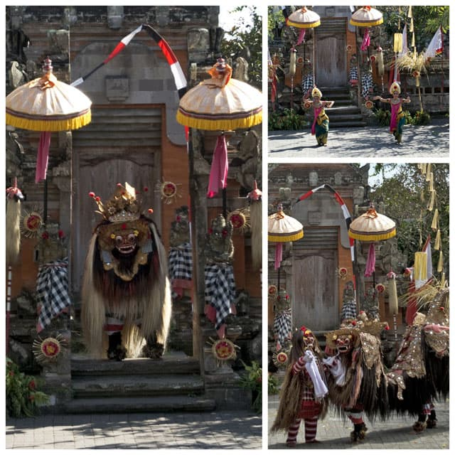 It's the daily battle of good and evil that was depicted in a traditional Balinese dance performance we were treated to on our way to Ubud. The Barong battles the evil witch Rangda. Of course, in the end evil is defeated, and order is restored.