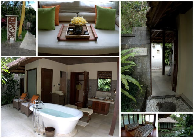 Collage of Four Seasons Spa. We were treated to a traditional bathing ritual and massage at the Four Seasons Ubud.