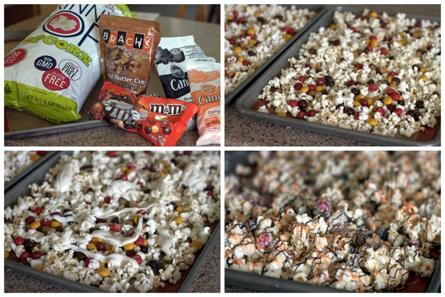 Collage of making Halloween Peanut Butter Cup Popcorn