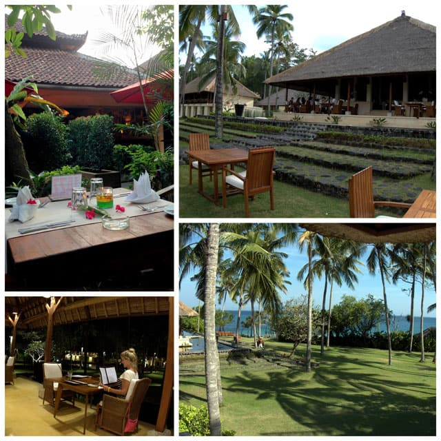 Collage from the Seasalt Restaurant is a set in a traditional Balinese open air pavilion surrounded by lotus ponds.
