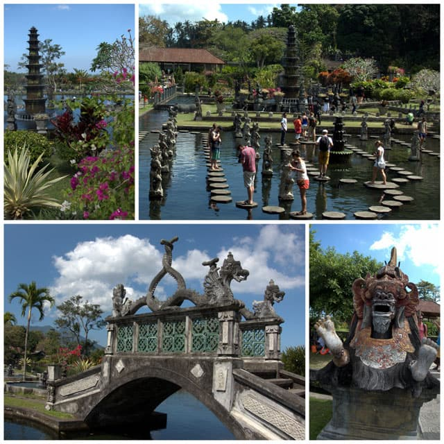 Collage from Tirta Gangga.Tirta Gangga is a water palace built in 1946 by the King in East Bali.