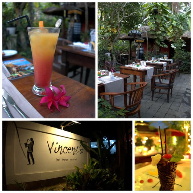 Collage of Vincents Restaurant. I had lots of memorable meals in Bali, but one dessert stands out. It was the Chocolate Piece de Resistance dessert at Vincent\'s.