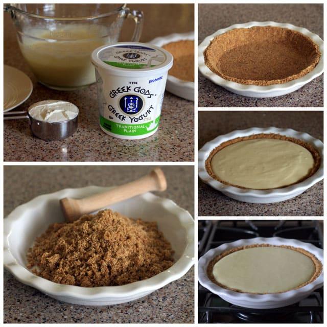 Collage of making Creamy Lemon Yogurt Pie