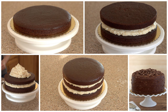 Collage with tips on how to frost a layer cake.
